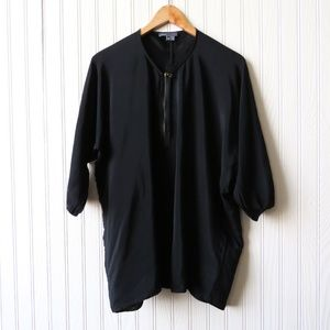 VINCE 3/4 Sleeve Zipper Silk Blouse Black XS